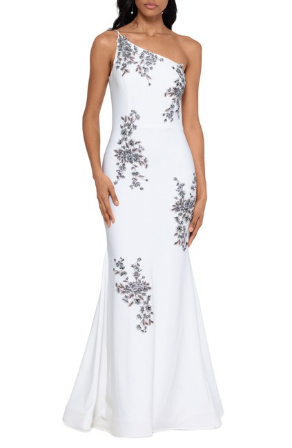 Item - Ivory/Blush Beaded Embroidery One-shoulder Trumpet Gown Long Formal Dress Size 6 (S)