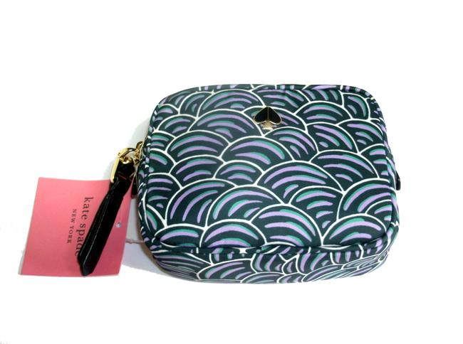 Item - Pineforest Green Pouch Mini Nylon Zip Around Square Cosmetic Bag
