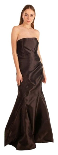 Item - Brown Coffee Chocolate Off The Shoulder Taffeta Ruched Mermaid Gown Long Formal Dress Size 14 (L)