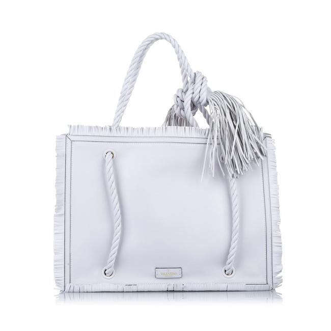 Item - Bag Large Rope White Leather Tote