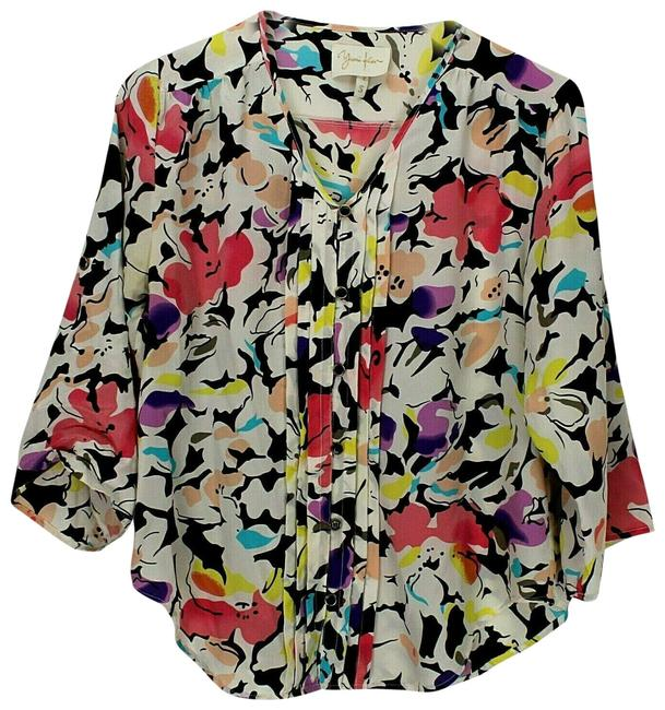 Item - Multicolor W Silk Floral W/ Roll Tab 3/4 Sleeves Small Blouse Size 4 (S)