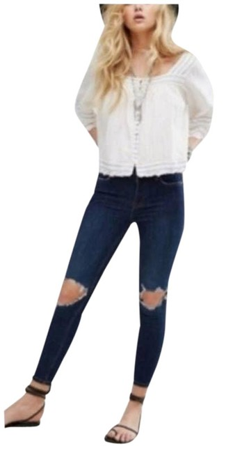 Item - Blue High Rise Busted Knee Skinny Jeans Size 26 (2, XS)