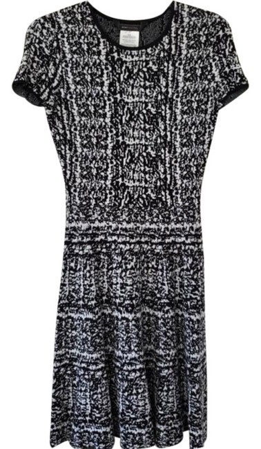 Item - Black & White Rayon Knit Fit N Flare Short Work/Office Dress Size 4 (S)