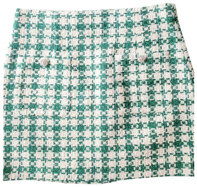 Item - Green Bejeweled Houndstooth Textured Skirt Size 8 (M, 29, 30)