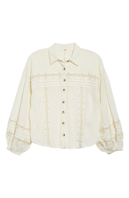Item - Ivory Summer Stars Shirt Button-down Top Size 4 (S)