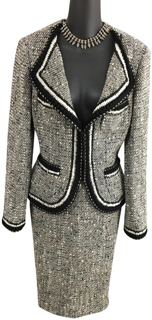 Item - Black White Gray Tan Couture Chain Knit Jacket Skirt Suit Size 4 (S)