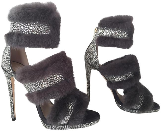 Item - Silver Strass Taupe Brown Kai Gray Suede Crystal Mink Fur Pumps Boots/Booties Size EU 40 (Approx. US 10) Regular (M, B)