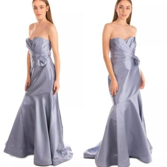 Item - Blue Ice Sky Light Ruched Mermaid Satin Glossy Shiny Gown Formal Wedding Dress Size 0 (XS)