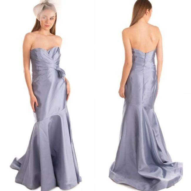 Item - Blue Ice Sky Light Ruched Mermaid Satin Glossy Shiny Gown Formal Wedding Dress Size 4 (S)
