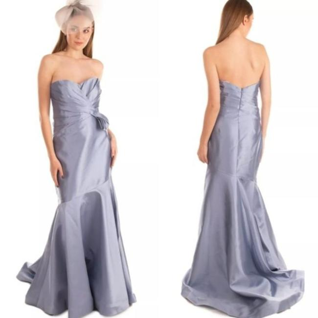 Item - Blue Ice Sky Light Ruched Mermaid Satin Glossy Shiny Gown Formal Wedding Dress Size 6 (S)