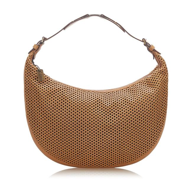Item - Perforated Brown Leather Hobo Bag