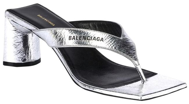 Item - Silver and Black Double Square with Laminated/Crinkled Leather Sandals Size EU 39 (Approx. US 9) Regular (M, B)