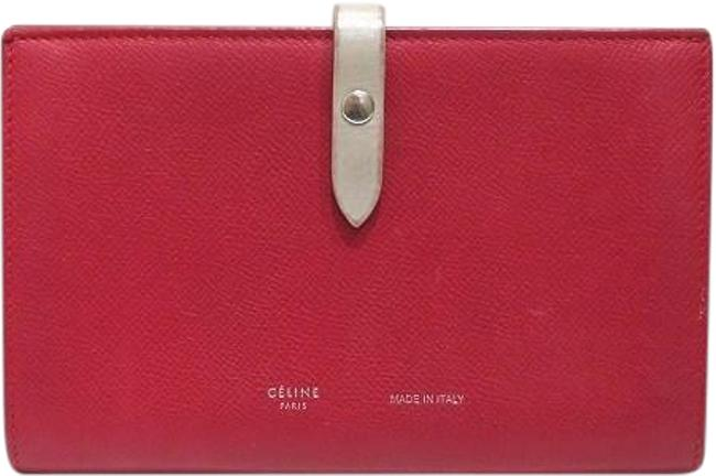 Item - Gray / Red Color Strap Large Multifunction 104873 Calfskin Folded Ladies Wallet