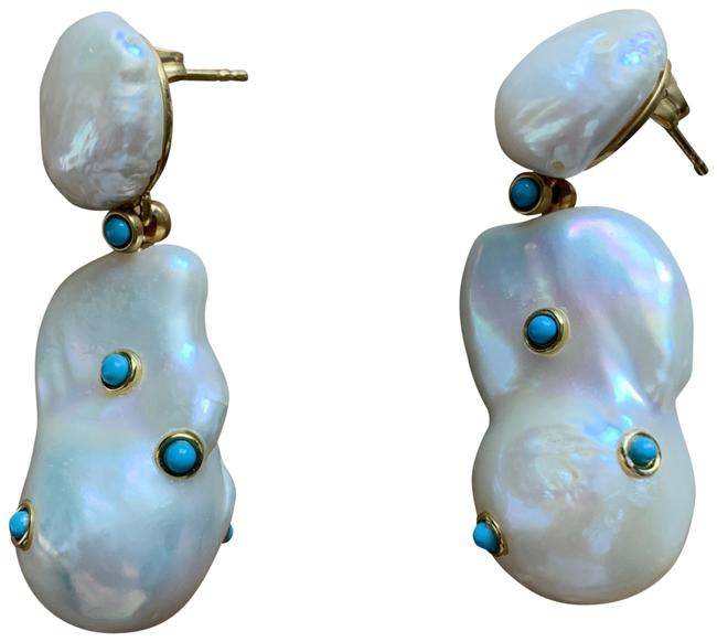 Item - Ivory & Turquoise Baroque Pearl Agate Earrings