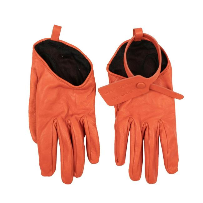 Item - Orange C/O Virgil Abloh Leather Zip Tie Gloves Activewear Gear Size 8 (M, 29, 30)