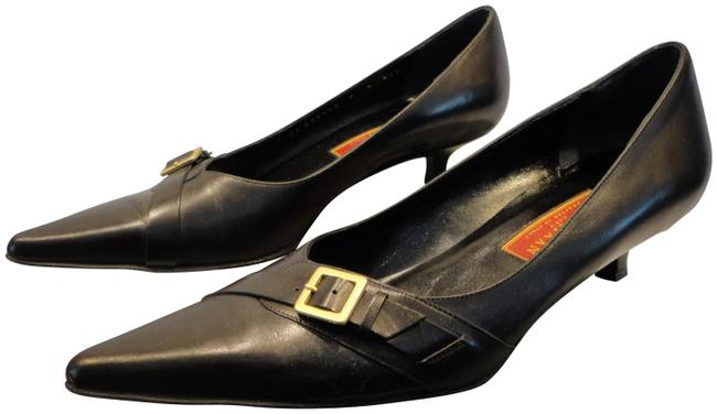 Item - Black Leather Kitten Heel Pumps Size EU 39 (Approx. US 9) Regular (M, B)