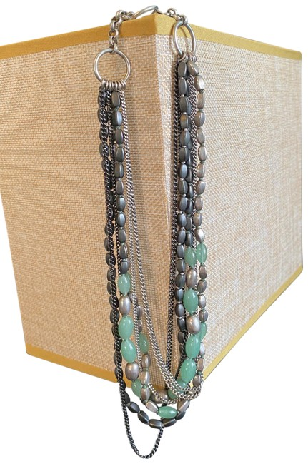 Item - Green and Silver Multi Strand Recreation Necklace