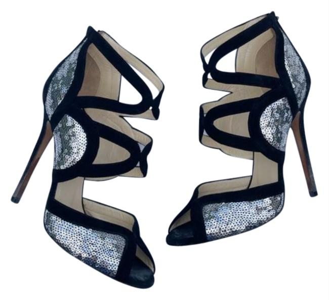 Item - Black Silver Tempest Sequin Sandal Heels Pumps Size EU 37 (Approx. US 7) Regular (M, B)