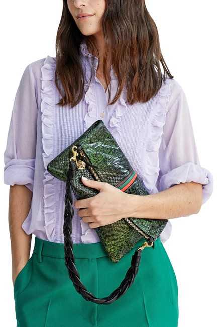 Item - Foldover with Tabs Fern Miro Snake Cowhide Leather Clutch