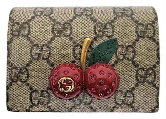 Item - Beige / Brown / Red Color Gg Supreme Bi-fold Cherry 476050 Purse Lady Wallet