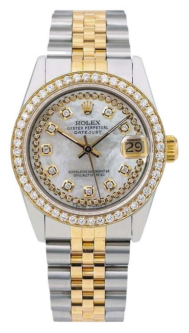 Item - White Oyster Perpetual Date 1500 34mm Mother Of Pearl Diamond Di Watch