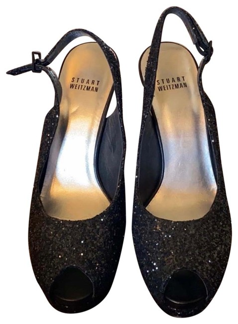 Item - Black Peep Toe Sling Pumps Size US 8 Regular (M, B)