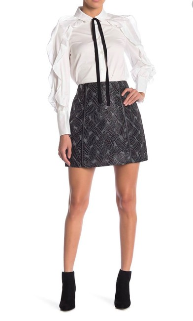 Item - Black Gray. Metallic Faux Leather Trim Skirt Size 00 (XXS, 24)