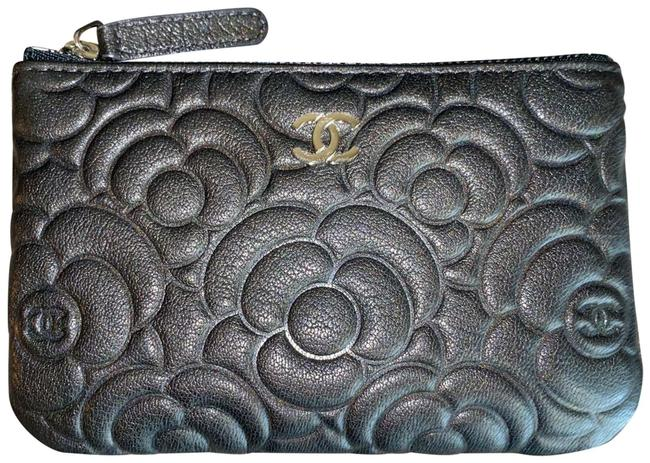 Item - Gray Camellia O-case Anthracite Graphite Charcoal Flower Embossed Leather Cc 19b A82279 Cosmetic Bag