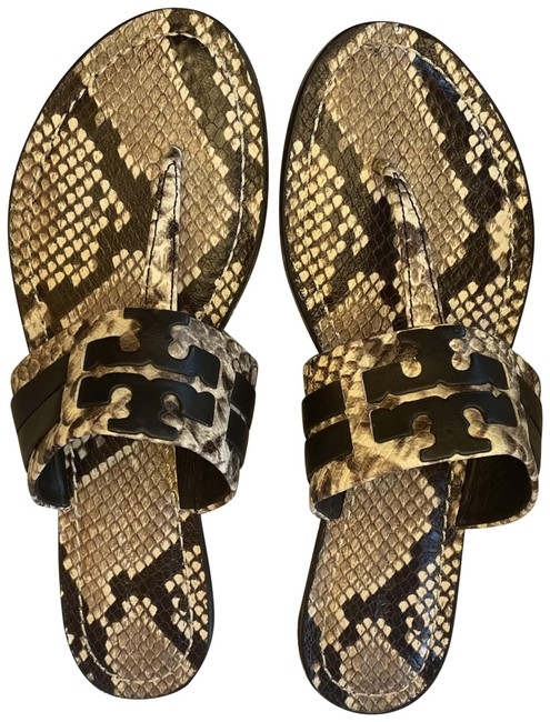 Item - Warm Ricco/Perfect Black Leigh / Flip Flop Snake Printed Sandals Size US 8 Narrow (Aa, N)