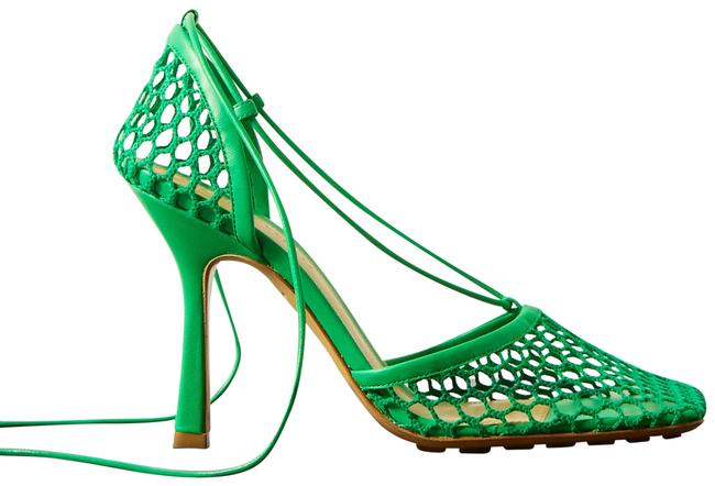 Item - Bright Green Lace-up Leather-trimmed Mesh Pumps Size EU 37 (Approx. US 7) Regular (M, B)