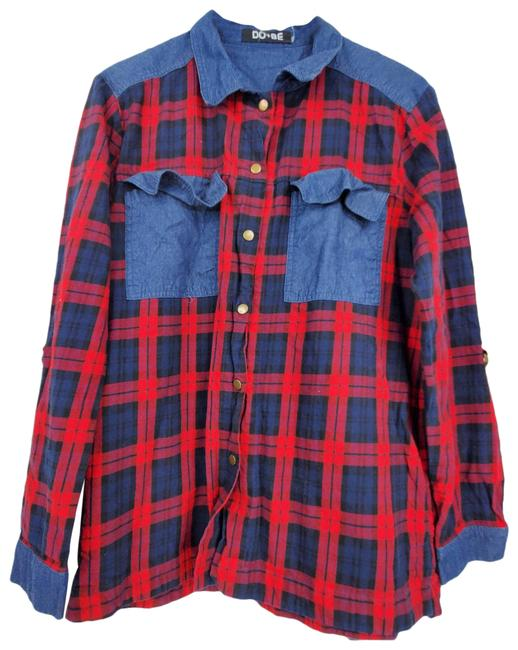 Item - Red Plaid Color Block Long Sleeve Button Up Shirt Button-down Top Size 12 (L)