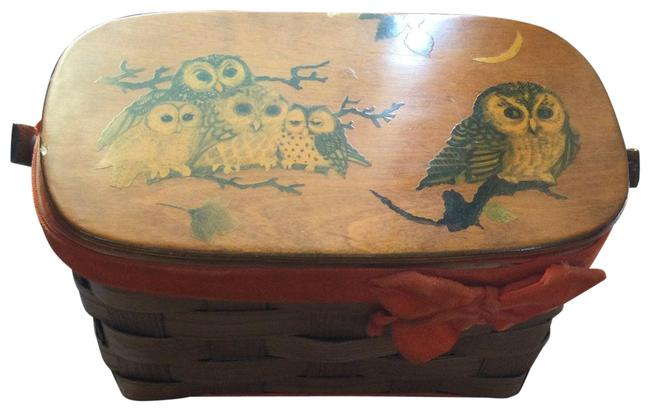Item - Top Handle Bag 60s-70s Boho Painted Owl Basket Orange/Brown Satchel