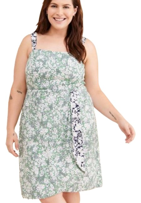 Item - Green White Maeve Keely Mini In Motif Short Casual Dress Size 16 (XL, Plus 0x)