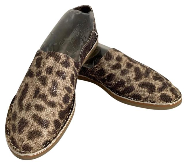Item - Brown Espresso Tan Embossed Leather Light Weight Foldable Rear Flats Size US 7 Regular (M, B)