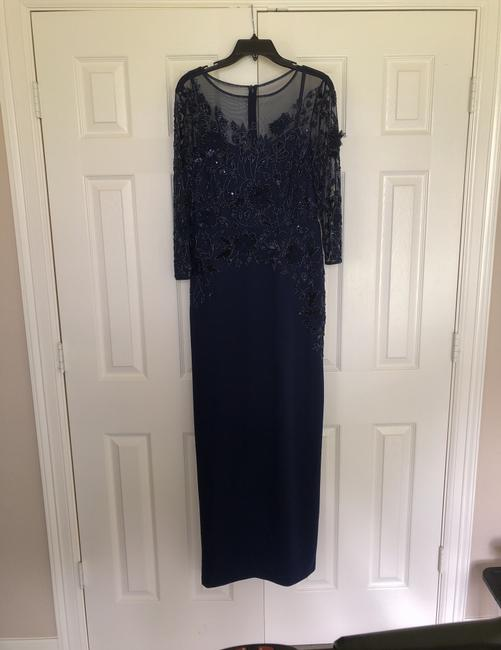 Item - Light Navy Polyester Beaded Illusion Column Gown Formal Bridesmaid/Mob Dress Size 12 (L)