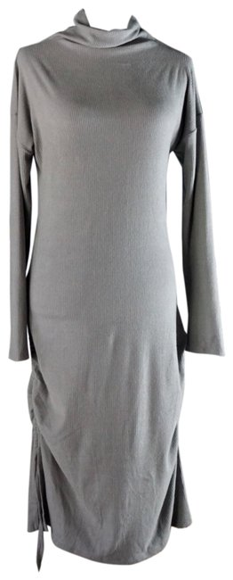 Item - Blue L Emily Ruched Ribbed Longsleeve Midi New Mid-length Short Casual Dress Size 12 (L)
