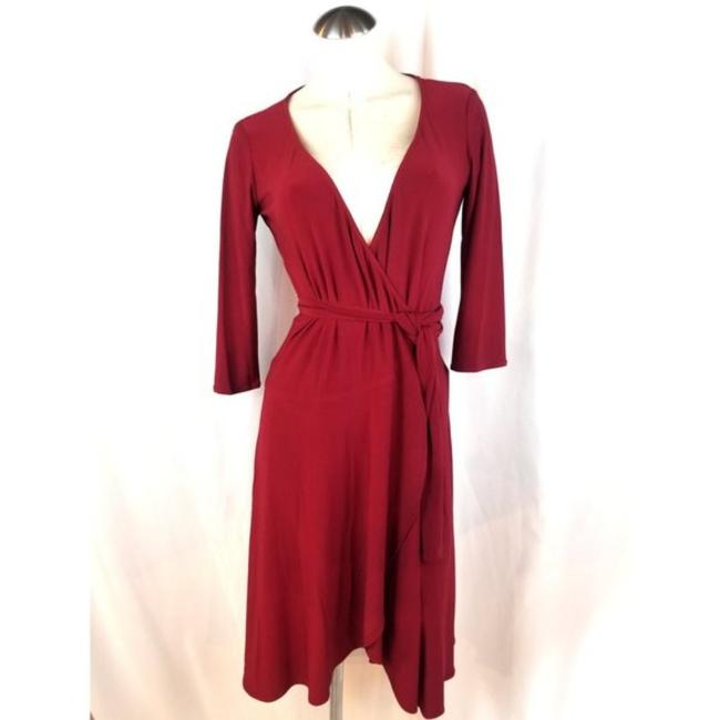 Item - Red Wrap Mid-length Work/Office Dress Size 4 (S)