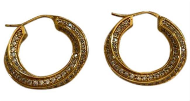 Item - Gold- Tone Metal with Crystals Twisted Hoops Earrings