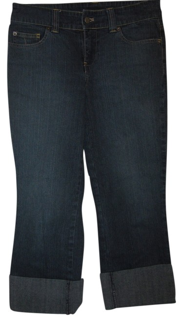 New York & Company Denim Cuffed Stretch Capris Blue