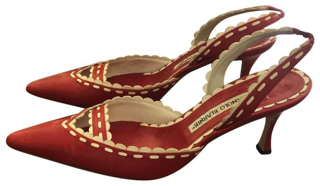 Item - Red And White Slingback Pumps Size EU 38.5 (Approx. US 8.5) Regular (M, B)