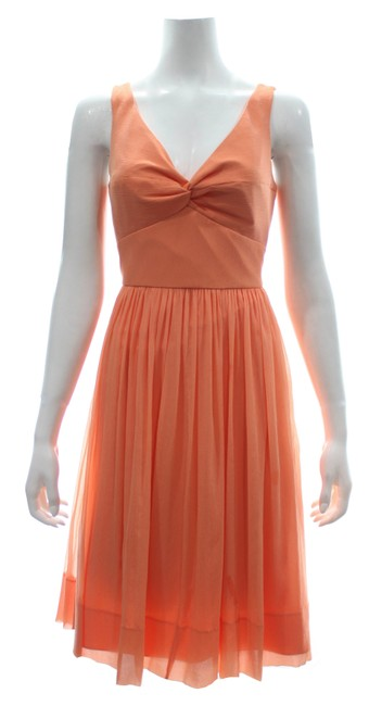 Item - Orange Sleeveless Silk A-line with Tags Mid-length Cocktail Dress Size Petite 10 (M)