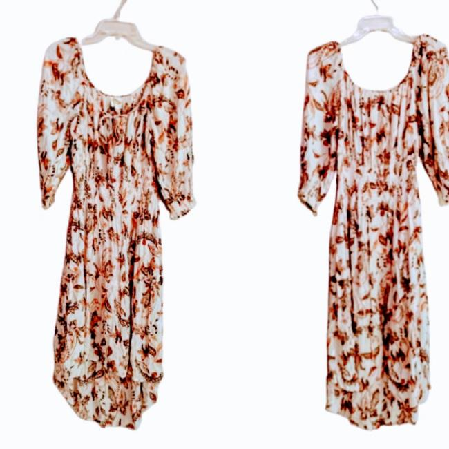 Item - Cream Fig and Flower Long Casual Maxi Dress Size 14 (L)