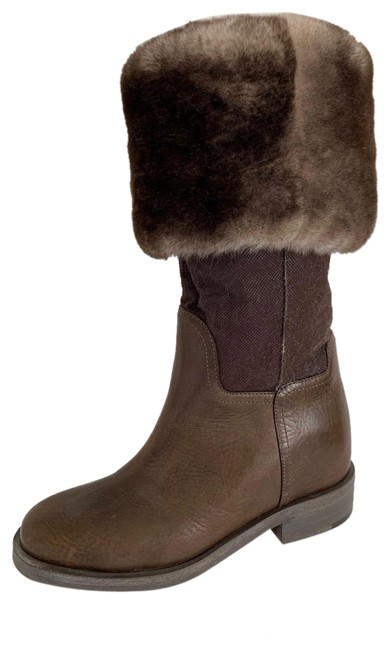 Item - Brown Chocolate Sheared Mink Lined Leather Knee High Nwob Boots/Booties Size EU 36.5 (Approx. US 6.5) Regular (M, B)