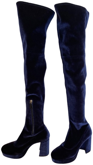 Item - Blue Velutto Over The Knee Stretch Boots/Booties Size EU 38 (Approx. US 8) Regular (M, B)