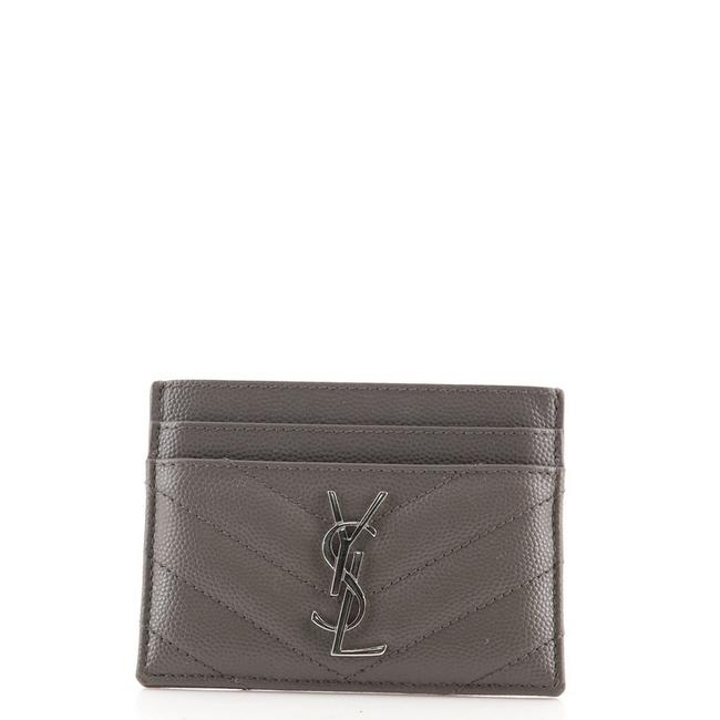 Item - Gray Classic Monogram Card Holder Matelasse Chevron Leather Wallet