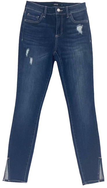 Item - Blue Distressed High Waist Slit Ankle Dark Skinny Jeans Size 2 (XS, 26)