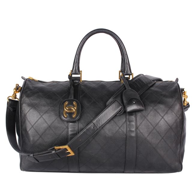 Item - Duffle Quilted 9572 Black Lambskin Leather Weekend/Travel Bag