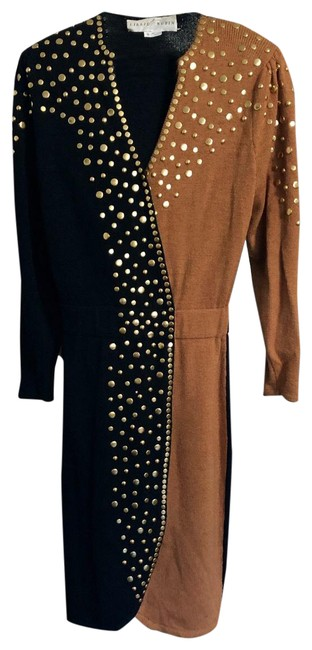 Item - Black and Brown with Gold Studs Vintage Art Deco Mid-length Night Out Dress Size 6 (S)