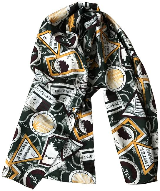 Item - Green Ivory Maroon Travel Stamps Scarf/Wrap