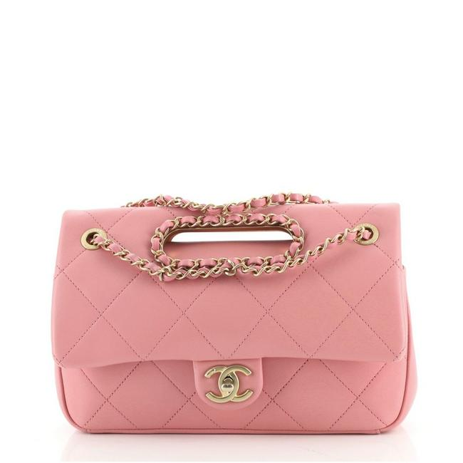 Item - Classic Flap A Real Catch Quilted Lambskin Medium Pink Leather Cross Body Bag